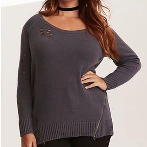 Torrid distressed zip sweater